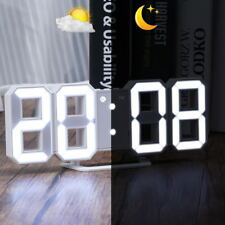 LED Digit Table Wall Clock Large 3D Display Alarm Clock Brightness Dimmer USB