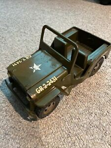 vintage pressed steel tonka toy Military Jeep - Army Green