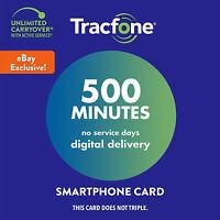 TracFone 500 Minutes ADD ON Service Card Prepaid Digital Refill Card Smartphone