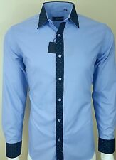 MENS CONTRAST SHINY COLLAR  FORMAL CASUAL PARTY SHIRT NOW ONLY £ 17.99 (318)