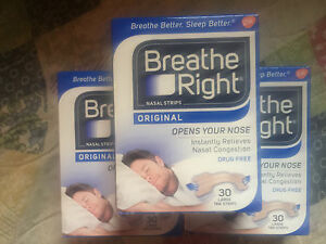 (90) BREATHE RIGHT NASAL STRIPS, LARGE TAN ( 3 x 30 CT Boxes ) Ships World Wide
