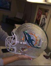 NFL SWAROVSKI CRYSTAL HAND STONED Authentic Full Size Riddell  DOLPHINS HELMET