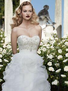 Casablanca Bridal #2068 Size 10 White Wedding Dress White/Silver Organza Ruffle