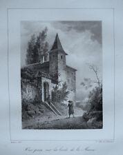 Vue Bords de Marne CHARLES CONSTANS LITHOGRAPHIE d apres ARNOUT Gravure 1823