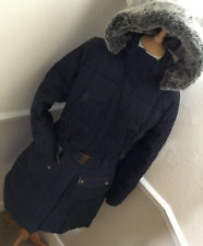 Barbour Ladies Belted Quilted Coat Navy Size 14