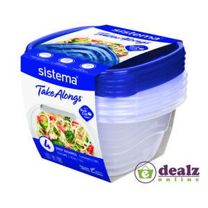 4x Sistema TakeAlongs Medium Deep Square Plastic Food Storage Containers 1.2L