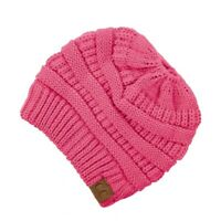 Woman CC Ponytail Beanie Messy Bun 100% Stretchable Soft Warm Free Shipping US