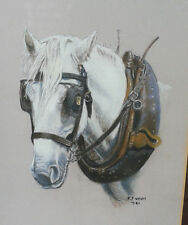 R.F. (Bob) Wyatt. Original pastel study of a grey shire/draught horse. Framed