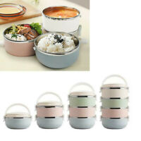 Portable Thermal Insulated Round Lunch Box Stainless-Steel Bento Food Container