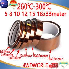5 8 10 12 15 18mm x 33M Heat Resistant High Temperature Kapton Tape Polyimide OZ