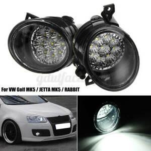 Pair 9 LED Left & Right Side Front Fog Light Lamps For VW GOLF JETTA MK5 RABBIT