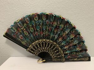 """Spanish Style Colorful Floral Embroidered Folding Hand Fan Black 9"""" x 17"""""""