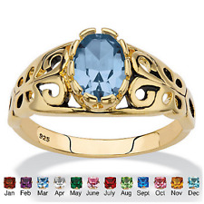 OVAL 14K GOLD OVER STERLING SILVER FILIGREE AQUAMARINE RING SIZE 5 6 7 8 9 10