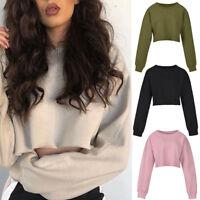 Womens Long Sleeve Sweatshirt Loose Casual Crop Blouse Short Tops Sweater Jumper