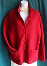 DRESSBARN Rich Red Thin Boiled Wool Jacket Sz L Button Up Long Sleeve Festive