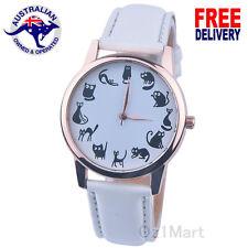 NEW Women CAT KITTEN White Leather Strap Casual Quartz Unique Watch Wristwatch
