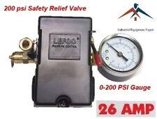 H/D PRESSURE SWITCH AIR COMPRESSOR 145-175 4 PORT 26 AMP w Gauge & Pop off valve