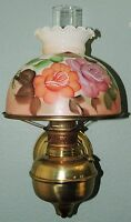 BRASS WALL LAMP W/ HAND PAINTED MILK GLASS SHADE VINTAGE