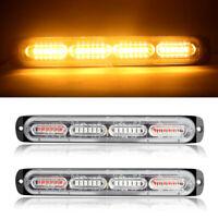 2pcs Strobe 24 LED Amber Hazard Beacon Emergency Flashing Side Marker Light Bars