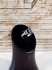 Antiker russischer Ring Silber 875 mit Blautopas, Art Deko um 1920, RG 16