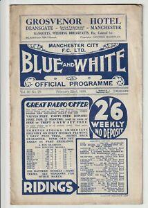 Manchester City V Preston North End Rare Division One Programme 1935/36