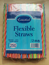 250 Flexible Twisted Colour Drinking Straws 5x240mm Coloured Straw
