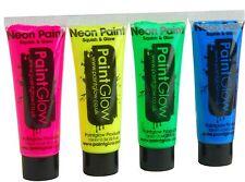 4 x néon uv PAINTGLOW facepaint face & body paint 10ml set de 4 random couleurs