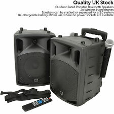 2x 100W Outdoor Portable PA Speaker System – Bluetooth Wireless Rechargeable UHF