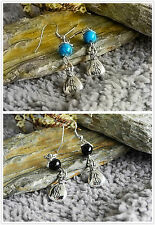 Antiguo Plata dinero Bolsa Turquoise/black Bead drop/dangle Aretes De 2 De Regalo