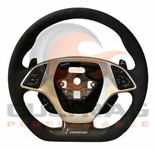 2014-2019 Corvette D Shaped Steering Wheel Manual Suede Black Stitch High Gloss