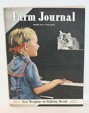 FARM JOURNAL AND FARMER'S WIFE MARCH 1947 GIRL PLAYING PIANO + CAT