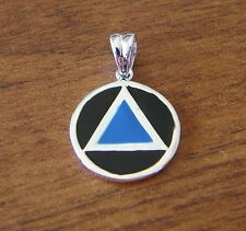 Sterling Silver Alcoholics Anonymous AA Symbol Blue & Black Pendant Jewelry 1030