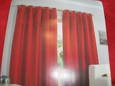 "Red faux silk lined curtains, pleat detail . ring top 90"" x 90"" BNIB"