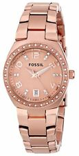 FOSSIL AM4508 Colleague Rose Gold Stainless Steel Crystal Date 28mm Ladies Watch