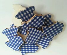 10 Blue gingham vests wood card toppers/embellishments baby showers