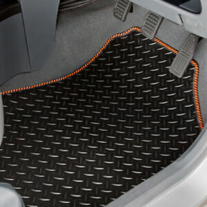 TAILORED RUBBER CAR MATS WITH ORANGE STRIPE TRIM FOR PEUGEOT 207 2006 TO 2012