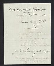 "SERQUIGNY (27) Négociant commercial ""Emile FRESNARD DE LA FRAMBOISIERE"" en 1884"