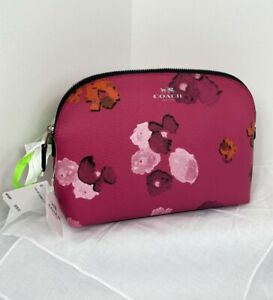New Coach Cosmetic Bag Pink Floral Print Zip Coated Canvas F53131 MSRP $115 M7