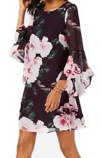 Nine West Women's Shift Dress Purple Size 12 Bell Sleeve Floral Print NEW #44