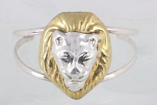 STERLING SILVER TAXCO TWO TONE LARGE  LION'S HEAD CUFF BRACELET 925 MEXICO 9438