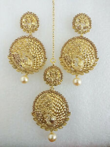 Indian Gold Plated Maang Tika Earrings Set Ethnic Bollywood Women Jewelry M-99