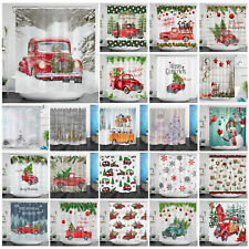 Christmas Retro Red Truck Cute Dog Snowy Woods Waterproof Fabric Shower Curtain