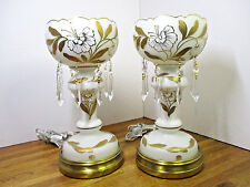 Vintage Hand Decorated Cased Glass Luster/Mantle Lamps Pair Western Germany