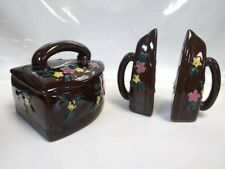 Ceramic Iron Salt & Pepper Shakers With Matching Trinket Dish ~ Made in Japan