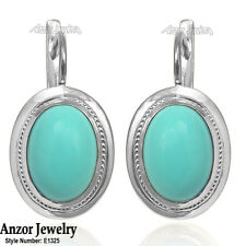 14k Solid Rose Gold Turquoise Russian Style Earrings #E1326