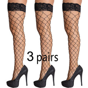 Lady's 3 Pairs Stockings Thigh High Socks Lace Fishnet Hot Fashion Sexy Hosiery