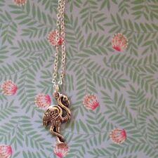 Flamingo Kette silbern *Neu* Kette versilbert, Tropical Kettenanhänger, Tier