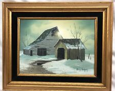 """LARRY VORHEES ORIGINAL OIL ON CANVAS Old Barn Farm PAINTING 9""""x12"""""""
