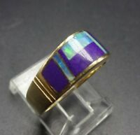 Vintage NAVAJO 14K GOLD Band, Purple SUGILITE and GILSON OPAL Inlay RING, size 7