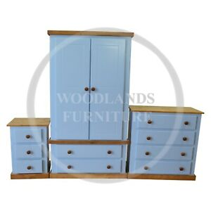 HANDMADE COUNTRY 3 PIECE BEDROOM SET BLUE, MANY COLOURS AVAILABLE (ASSEMBLED)